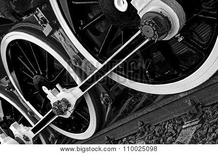 Black And White Detail And Close Up Of Huge Wheels At One Old Steam Locomotive 10