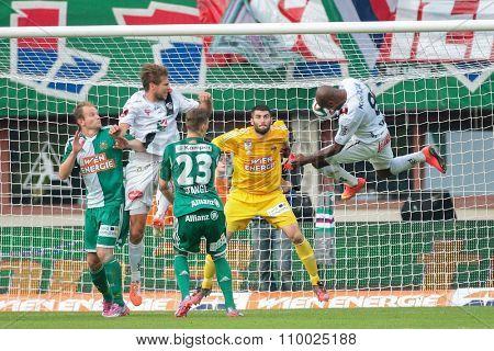 VIENNA, AUSTRIA - SEPTEMBER 20, 2014: Silvio de Oliveira (#8 Wolfsberg) tries to score a goal in an Austrian soccer league game.