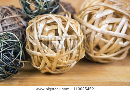 Yellow Christmas Balls On Wooden Surface