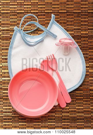 Baby Bowl, Spoon And Fork With Dummy