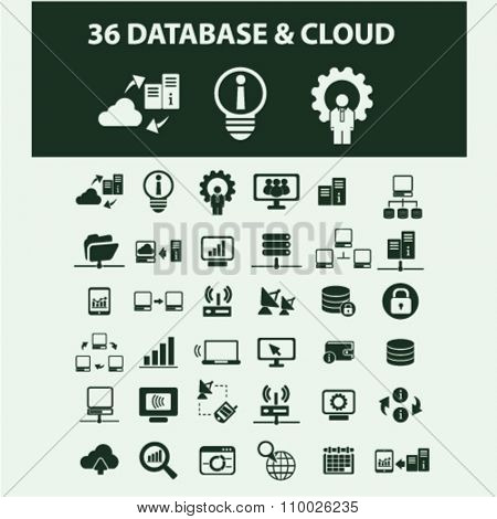 cloud network, connection, hosting, database, pc  icons, signs vector concept set for infographics, mobile, website, application