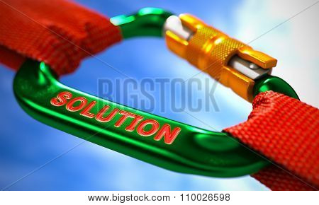 Solution on Green Carabine with Red Ropes.