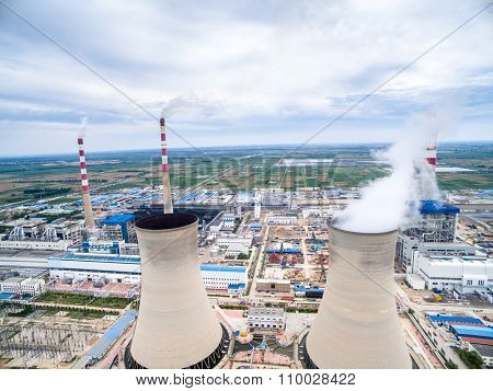 skyline,huge cooling tower in power plant