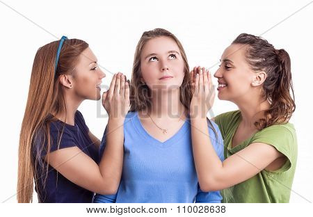 Rumors And Secrets Concept. Portrait Of Three Happy Caucasian Females Sharing Secrets And Rumoring T