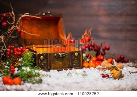 Christmas Winter Fairy With Opened Chest, Cones, Berries, Fir Tree And Snow, Closeup. Background Of
