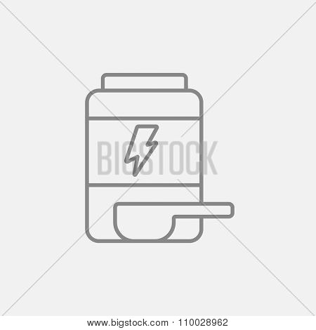 Sport nutrition container line icon for web, mobile and infographics. Vector dark grey icon isolated on light grey background.