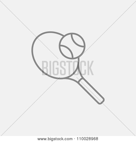 Tennis racket and ball line icon for web, mobile and infographics. Vector dark grey icon isolated on light grey background.