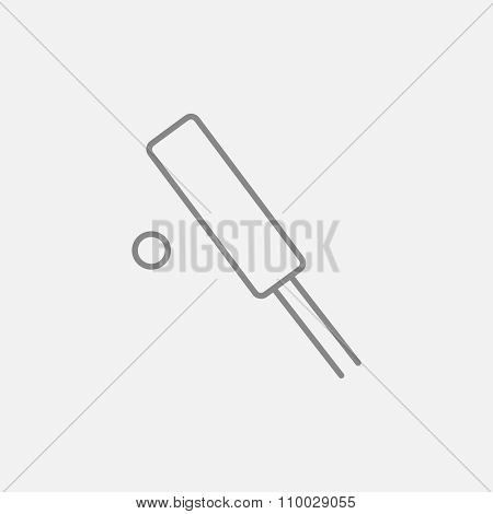 Cricket line icon for web, mobile and infographics. Vector dark grey icon isolated on light grey background.