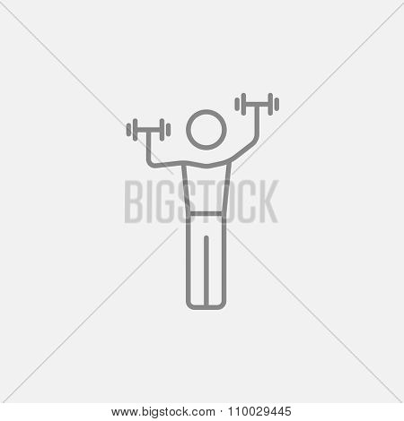 Man exercising with dumbbells line icon for web, mobile and infographics. Vector dark grey icon isolated on light grey background.
