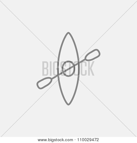 Kayak with paddle line icon for web, mobile and infographics. Vector dark grey icon isolated on light grey background.