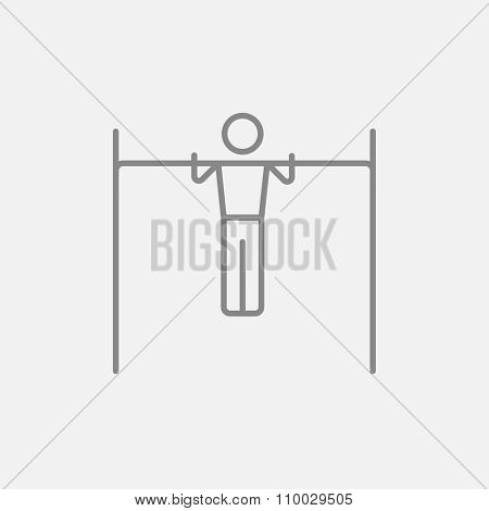 Gymnast exercising on the bar line icon for web, mobile and infographics. Vector dark grey icon isolated on light grey background.