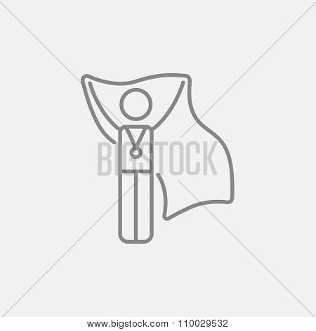 Medalist standing with flag line icon for web, mobile and infographics. Vector dark grey icon isolated on light grey background.