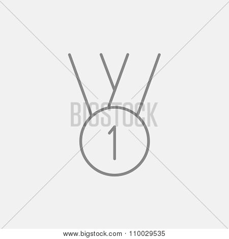 The medal for the first place line icon for web, mobile and infographics. Vector dark grey icon isolated on light grey background.