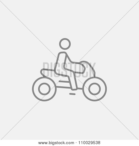 Man riding a motorcycle line icon for web, mobile and infographics. Vector dark grey icon isolated on light grey background.