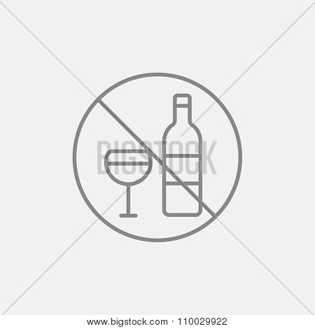 No alcohol sign line icon for web, mobile and infographics. Vector dark grey icon isolated on light grey background.