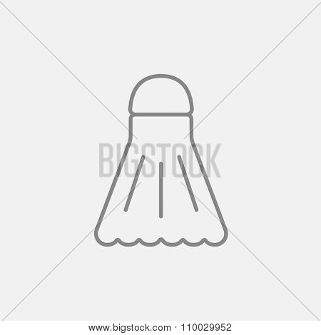 Shuttlecock line icon for web, mobile and infographics. Vector dark grey icon isolated on light grey background.