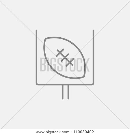 Gate and ball for rugby line icon for web, mobile and infographics. Vector dark grey icon isolated on light grey background.