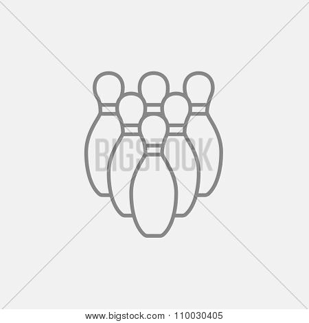 Bowling pins line icon for web, mobile and infographics. Vector dark grey icon isolated on light grey background.