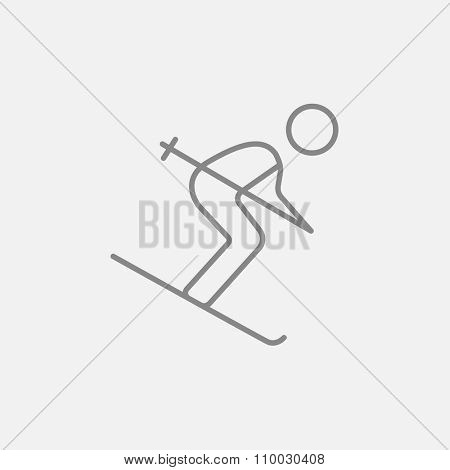 Downhill skiing line icon for web, mobile and infographics. Vector dark grey icon isolated on light grey background.