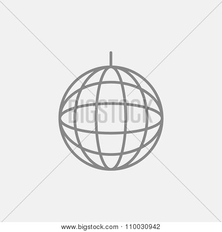 Disco ball line icon for web, mobile and infographics. Vector dark grey icon isolated on light grey background.