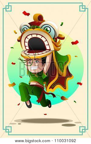 Boy Dancing  Lion Dance