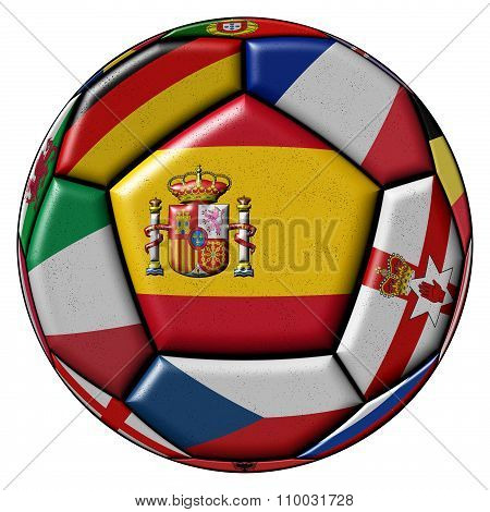 Soccer Ball With Flag Of Spain In The Center