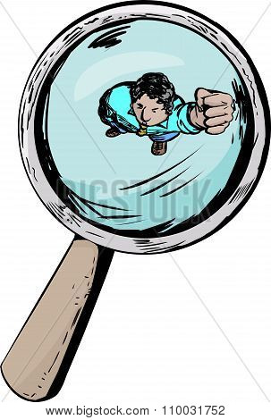 Angry Man Under Magnifying Glass