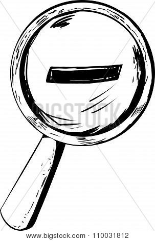 Outlined Zoom Out Symbol