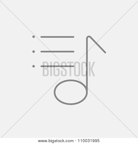 Musical note line icon for web, mobile and infographics. Vector dark grey icon isolated on light grey background.