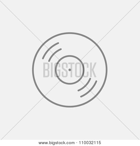 Disc line icon for web, mobile and infographics. Vector dark grey icon isolated on light grey background.