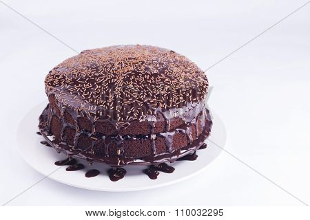 Luxurious Rich Chocolate  Cake On White Plate
