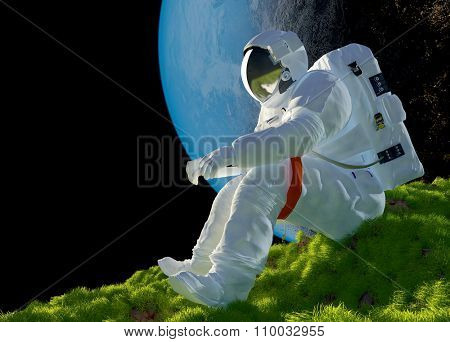 Astronaut sitting on the grass.