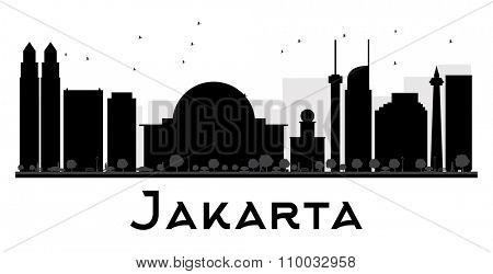 Jakarta City skyline black and white silhouette. Vector illustration. Simple flat concept for tourism presentation, banner, placard or web site. Business travel concept. Cityscape with landmarks
