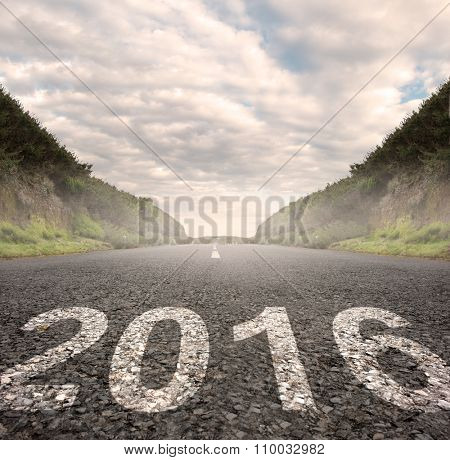 year 2016 painted on asphalt road
