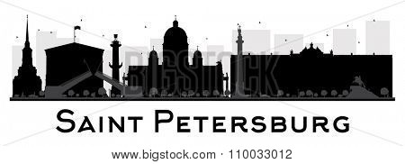 Saint Petersburg City skyline black and white silhouette. Vector illustration. Simple flat concept for tourism presentation, banner, placard or web. Business travel concept. Cityscape with landmarks