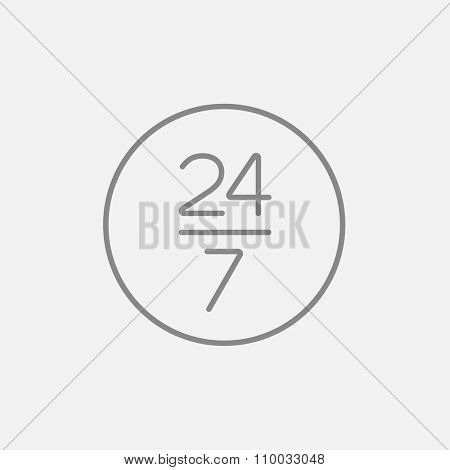 Open 24 hours and 7 days in wheek sign line icon for web, mobile and infographics. Vector dark grey icon isolated on light grey background.