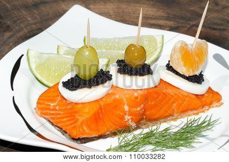 Smoked Salmon, Egg, Caviar, Orange, Olive, Grape