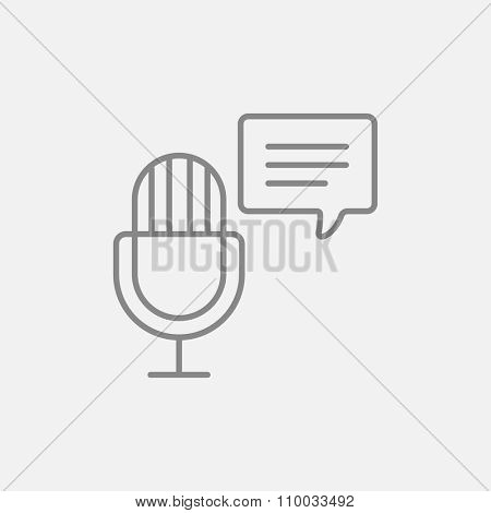 Microphone with speech square line icon for web, mobile and infographics. Vector dark grey icon isolated on light grey background.