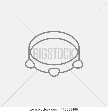 Tambourine line icon for web, mobile and infographics. Vector dark grey icon isolated on light grey background.