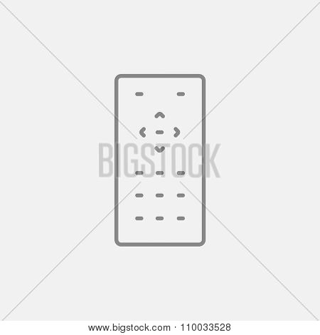 Remote control line icon for web, mobile and infographics. Vector dark grey icon isolated on light grey background.