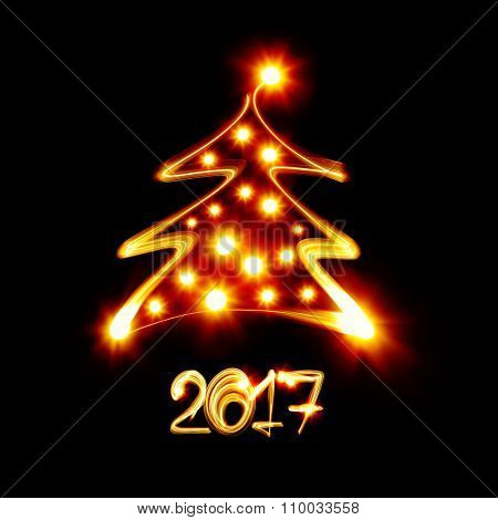 Christmas tree painted by light - Happy new year 2017