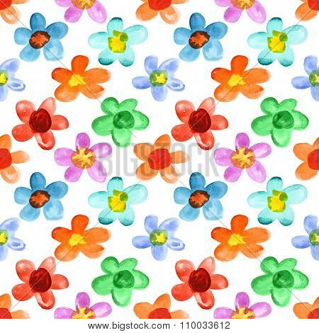 Multicolored watercolor flowers - seamless background