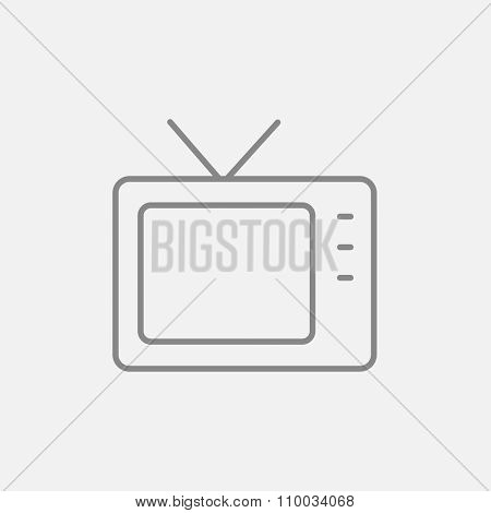 Retro television line icon for web, mobile and infographics. Vector dark grey icon isolated on light grey background.