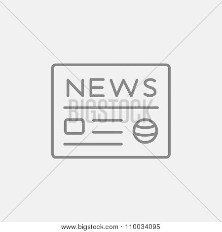 Newspaper line icon for web, mobile and infographics. Vector dark grey icon isolated on light grey background.