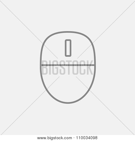 Computer mouse line icon for web, mobile and infographics. Vector dark grey icon isolated on light grey background.