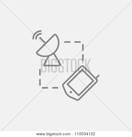 Navigator and satellite dish line icon for web, mobile and infographics. Vector dark grey icon isolated on light grey background.