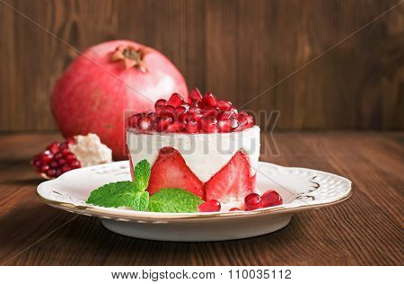 Cake With Strawberry And Pomegranate