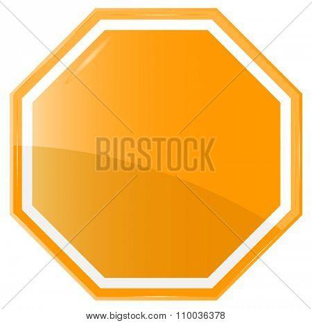 Isolated Blank Orange Sign, Vector