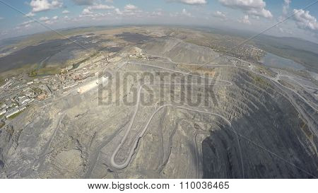 aerial view on gravel production in quarry