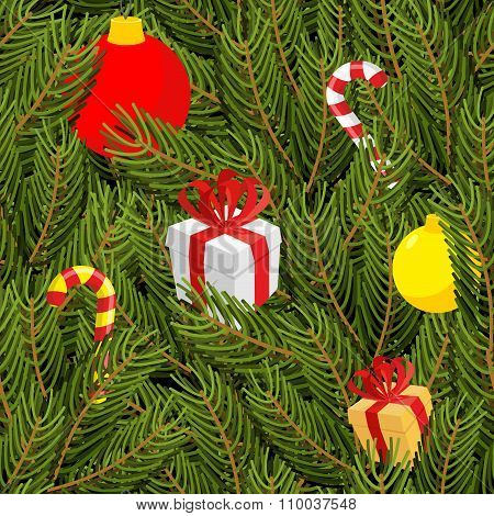 Branch Of Tree And Gifts Seamless Pattern. Christmas Green Background. Gift Box With Bow. Christmas